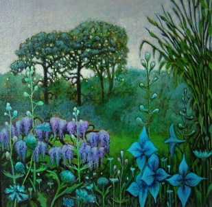 Wisteria and Larkspur
